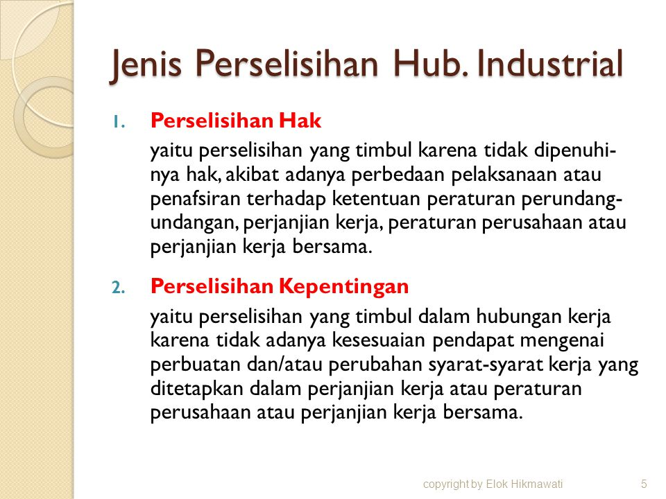 Jenis Perselisihan Hub. Industrial