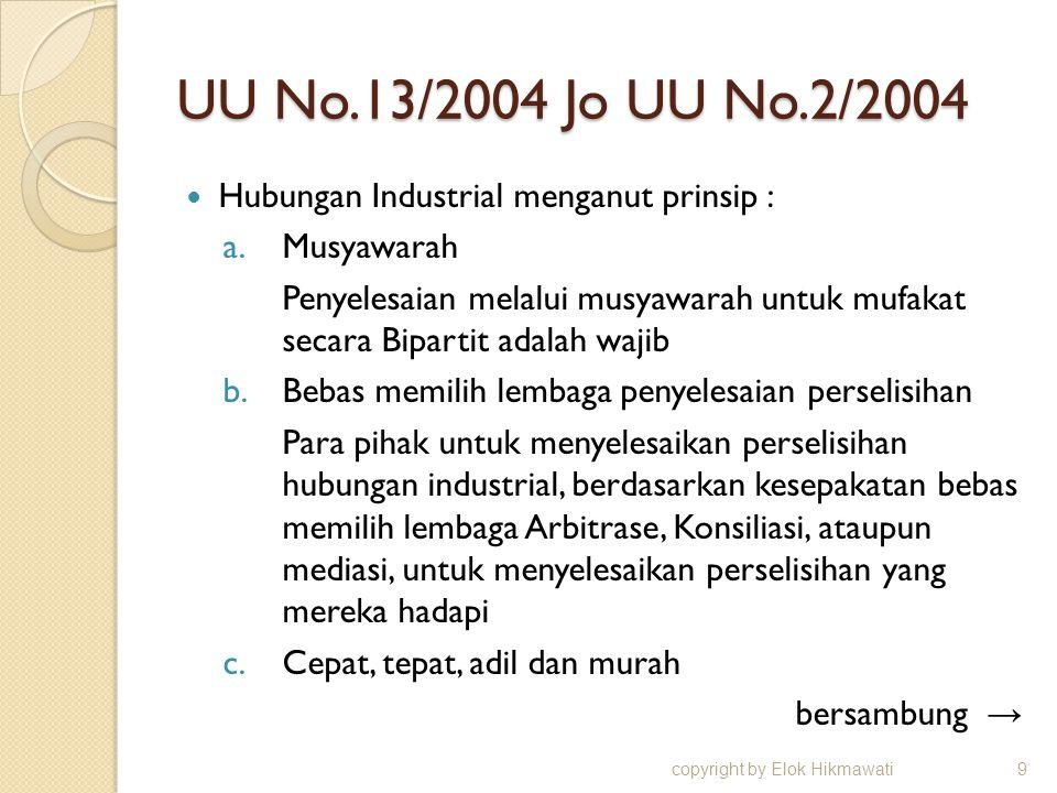 UU No.13/2004 Jo UU No.2/2004 Hubungan Industrial menganut prinsip :