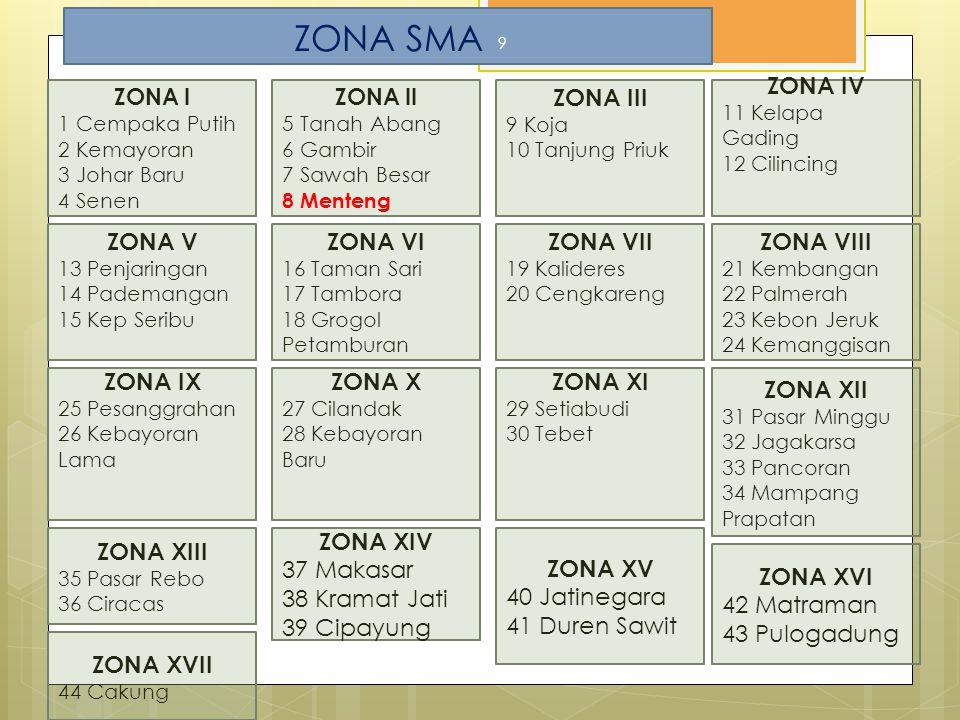 ZONA SMA ZONA III ZONA IV ZONA V ZONA VI ZONA VII ZONA VIII ZONA IX
