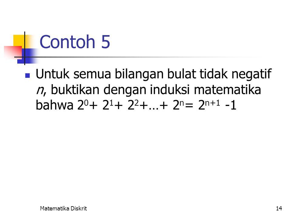 Solusi Misalkan p(n) adalah proposisi bahwa untuk semua bilangan bulat tidak negatif n, 20+ 21+ 22+…+ 2n= 2n+1 -1.