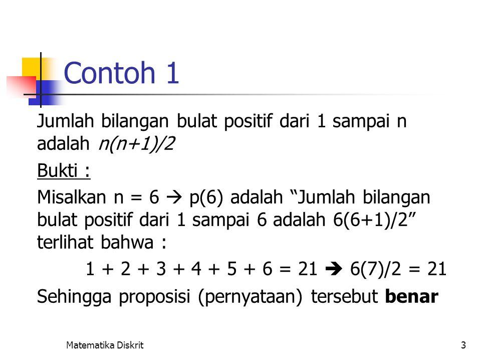 Contoh 2 Jumlah n buah bilangan ganjil positif pertama adalah n2.