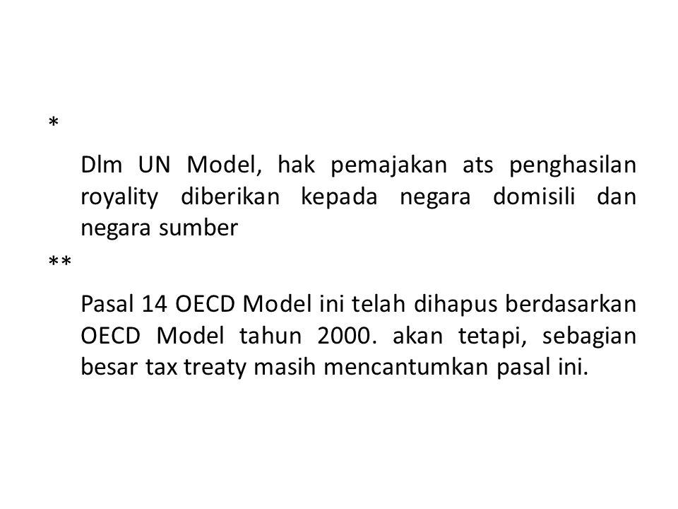 * Dlm UN Model, hak pemajakan ats penghasilan royality diberikan kepada negara domisili dan negara sumber.