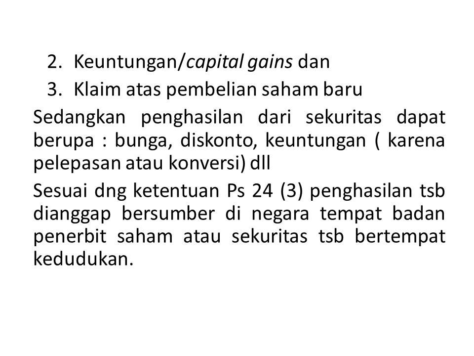 Keuntungan/capital gains dan