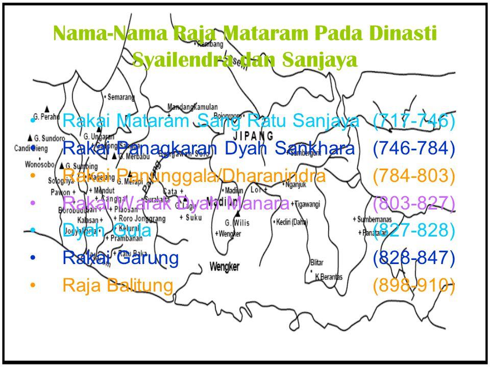 Nama-Nama Raja Mataram Pada Dinasti Syailendra dan Sanjaya