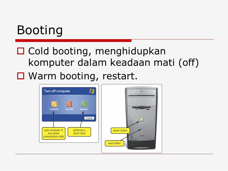 Booting Cold booting, menghidupkan komputer dalam keadaan mati (off)