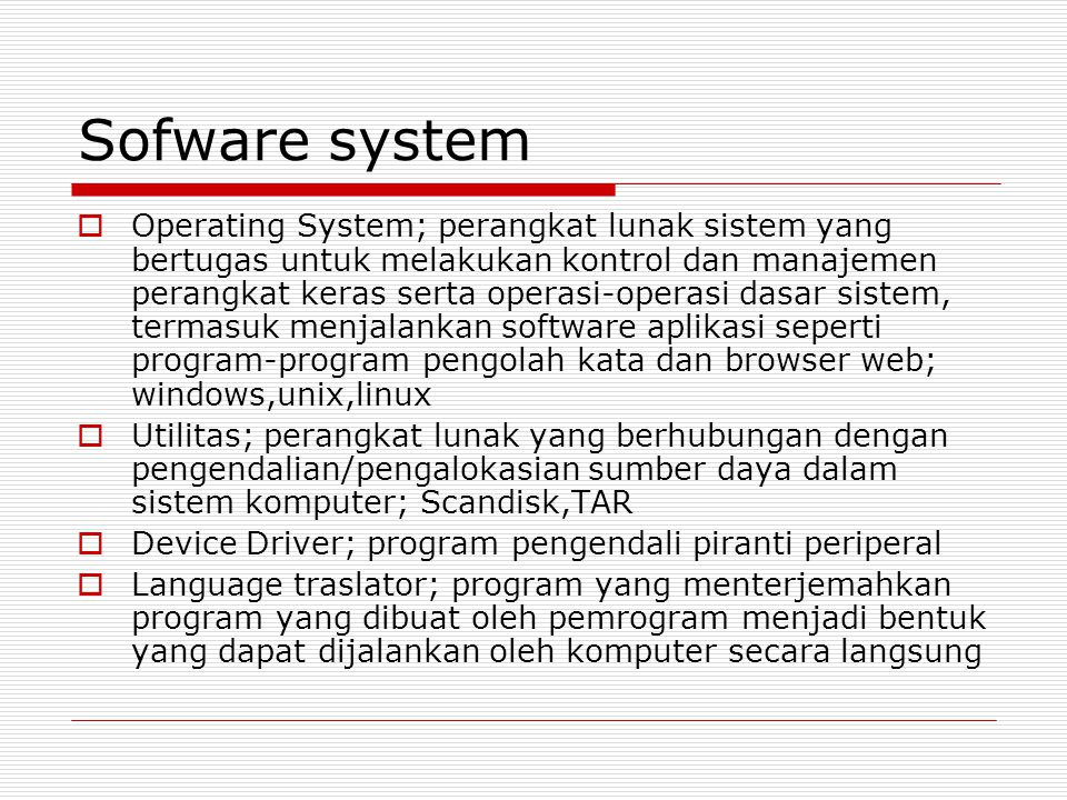 Sofware system