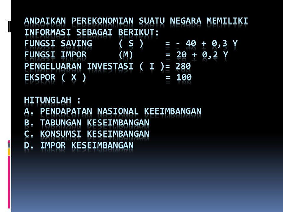 Andaikan perekonomian suatu negara memiliki informasi sebagai berikut: Fungsi saving ( S ) = - 40 + 0,3 Y Fungsi impor (M) = 20 + 0,2 Y Pengeluaran investasi ( I )= 280 Ekspor ( X ) = 100 Hitunglah : a.