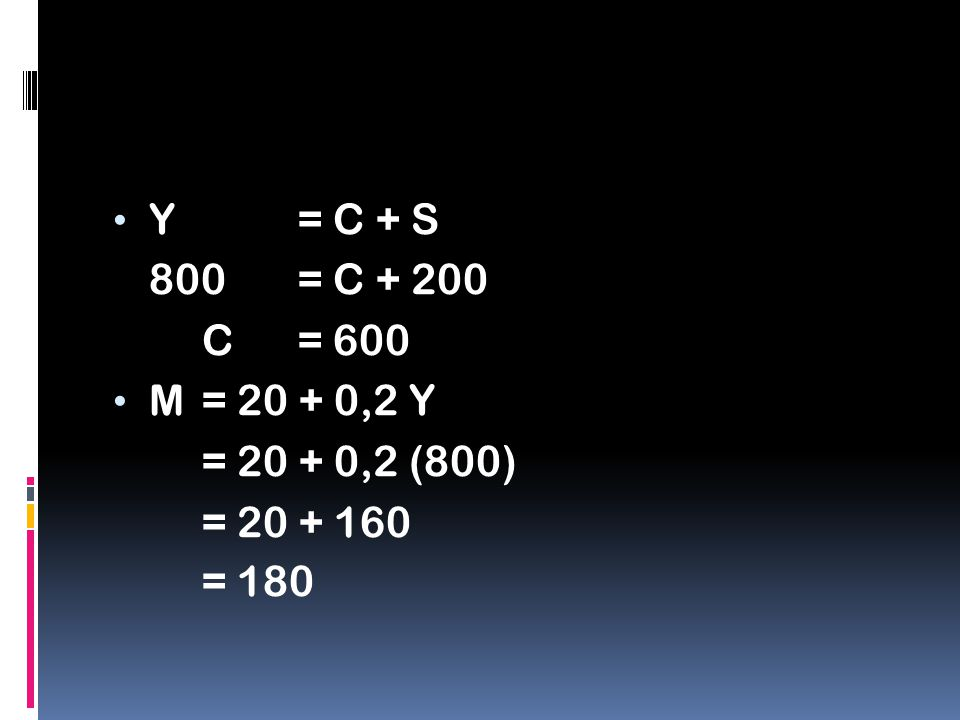 Y = C + S 800 = C + 200 C = 600 M = 20 + 0,2 Y = 20 + 0,2 (800) = 20 + 160 = 180