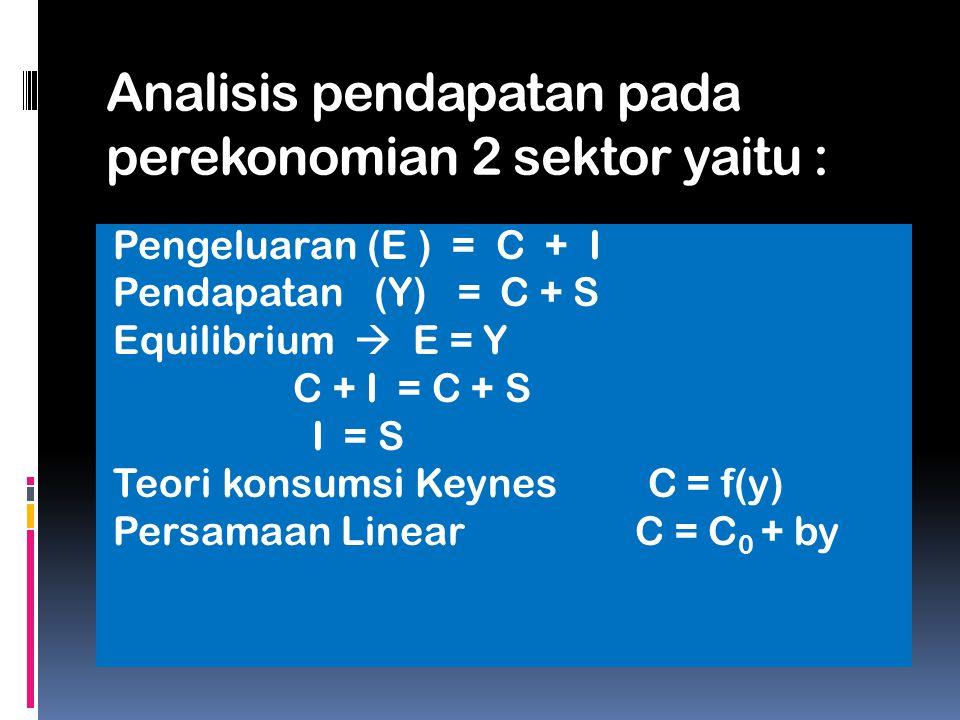 Analisis pendapatan pada perekonomian 2 sektor yaitu :