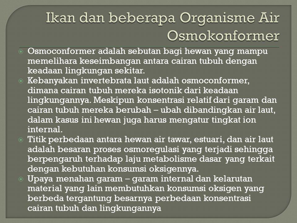 Ikan dan beberapa Organisme Air Osmokonformer
