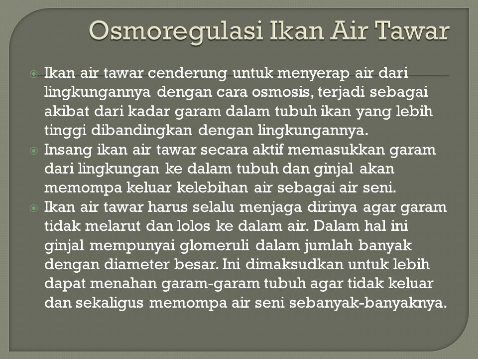 Osmoregulasi Ikan Air Tawar