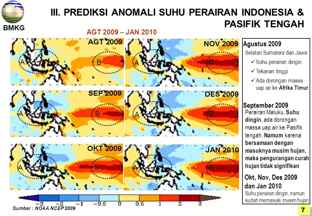 III. PREDIKSI ANOMALI SUHU PERAIRAN INDONESIA & PASIFIK TENGAH