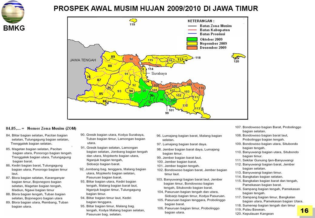 PROSPEK AWAL MUSIM HUJAN 2009/2010 DI JAWA TIMUR