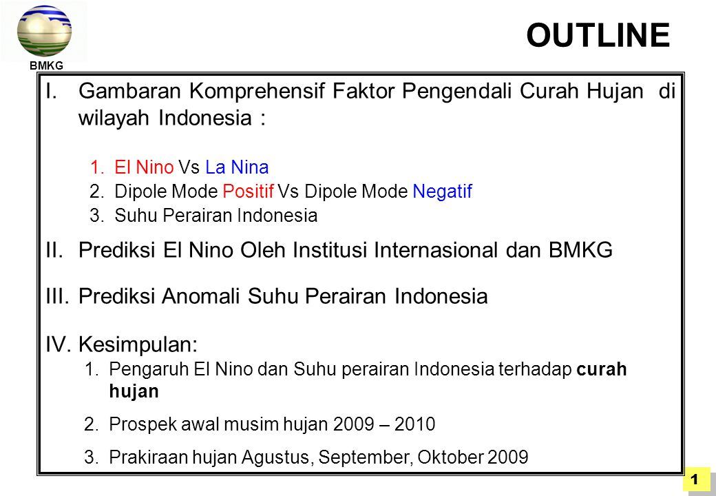BMKG OUTLINE. El Nino Vs La Nina. Dipole Mode Positif Vs Dipole Mode Negatif. Suhu Perairan Indonesia.