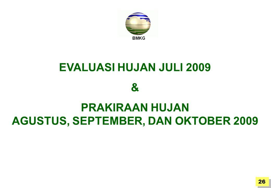 PRAKIRAAN HUJAN AGUSTUS, SEPTEMBER, DAN OKTOBER 2009