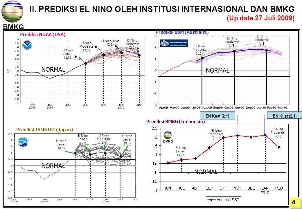 II. PREDIKSI EL NINO OLEH INSTITUSI INTERNASIONAL DAN BMKG (Up date 27 Juli 2009)