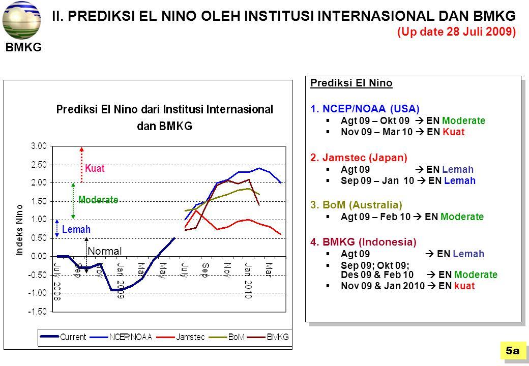 II. PREDIKSI EL NINO OLEH INSTITUSI INTERNASIONAL DAN BMKG (Up date 28 Juli 2009)