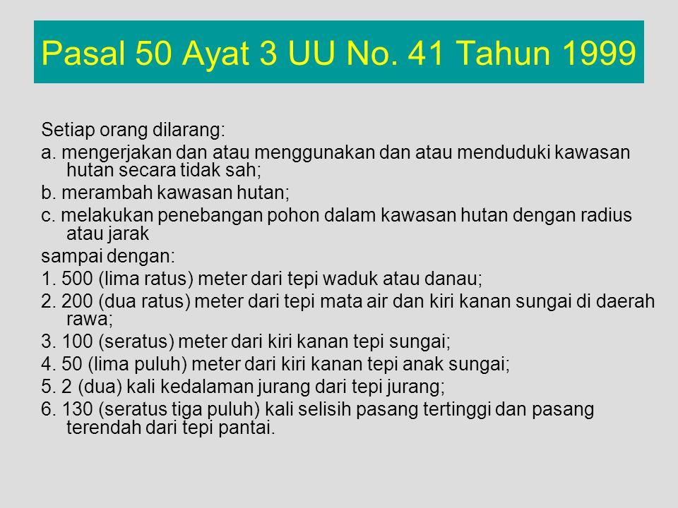 Pasal 50 Ayat 3 UU No. 41 Tahun 1999 Setiap orang dilarang: