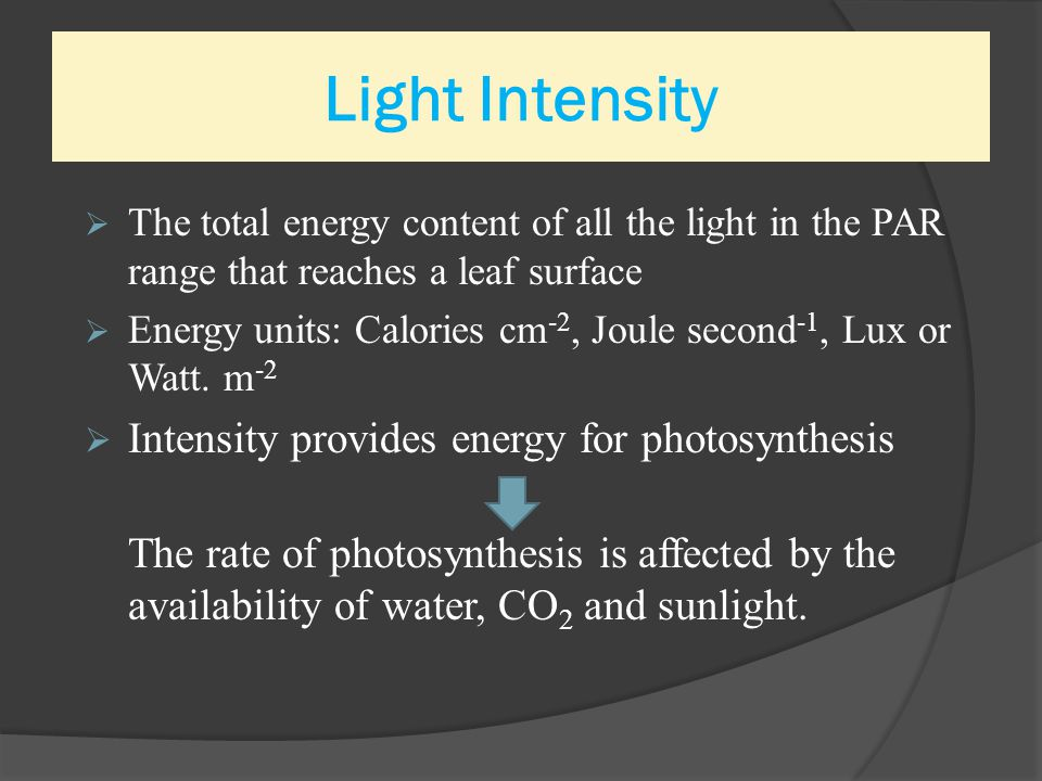 Light Intensity Intensity provides energy for photosynthesis