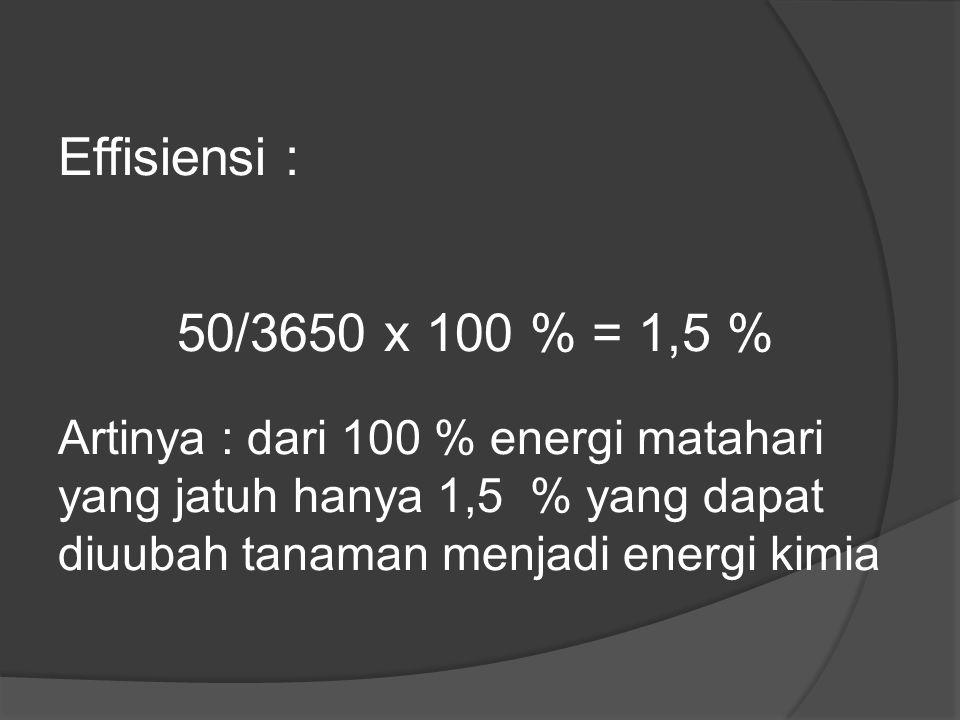 Effisiensi : 50/3650 x 100 % = 1,5 % Artinya : dari 100 % energi matahari yang jatuh hanya 1,5 % yang dapat diuubah tanaman menjadi energi kimia.