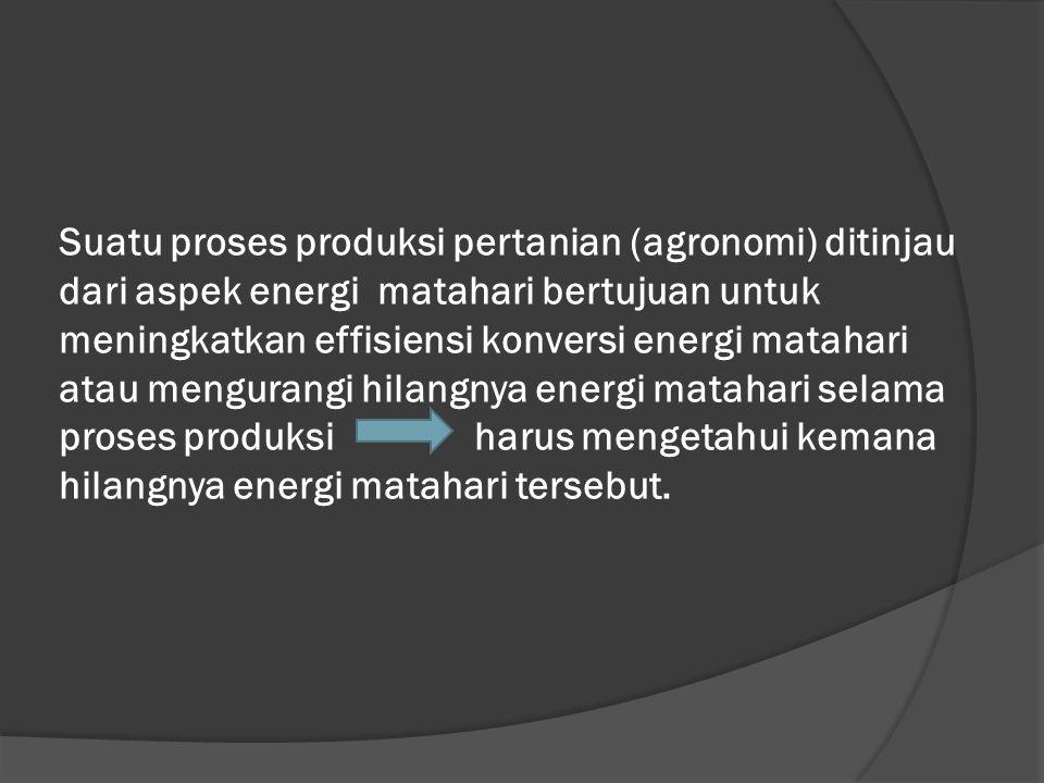 Suatu proses produksi pertanian (agronomi) ditinjau dari aspek energi matahari bertujuan untuk meningkatkan effisiensi konversi energi matahari atau mengurangi hilangnya energi matahari selama proses produksi harus mengetahui kemana hilangnya energi matahari tersebut.