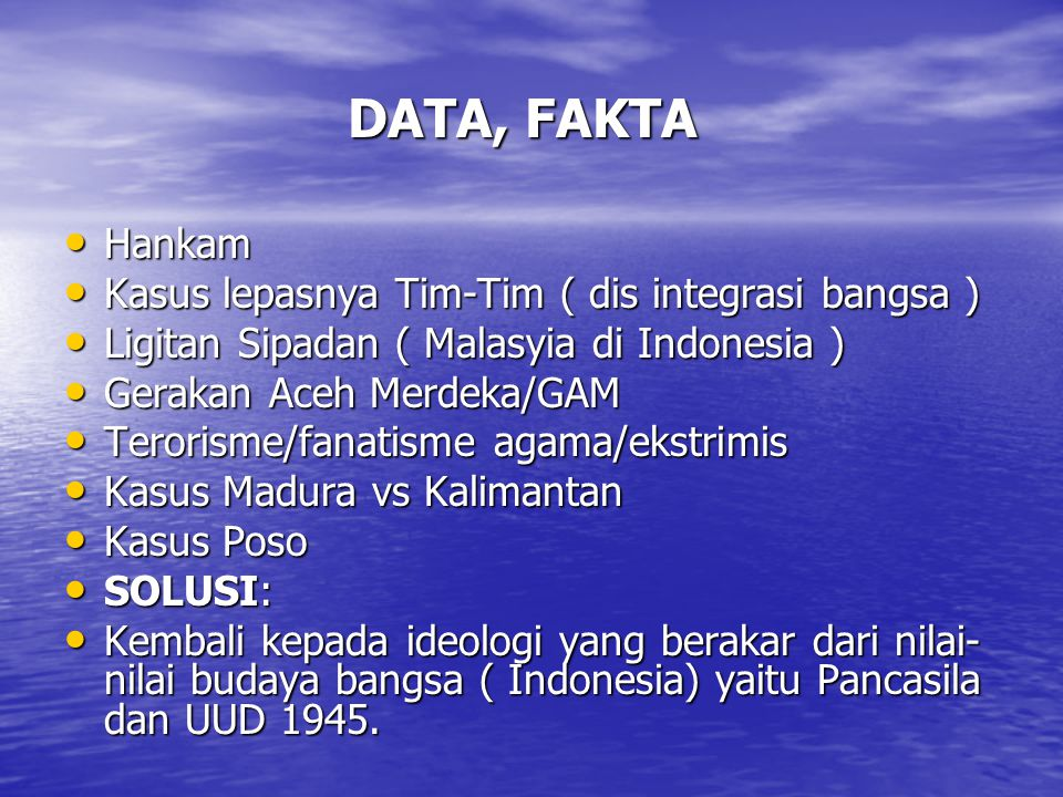 DATA, FAKTA Hankam Kasus lepasnya Tim-Tim ( dis integrasi bangsa )