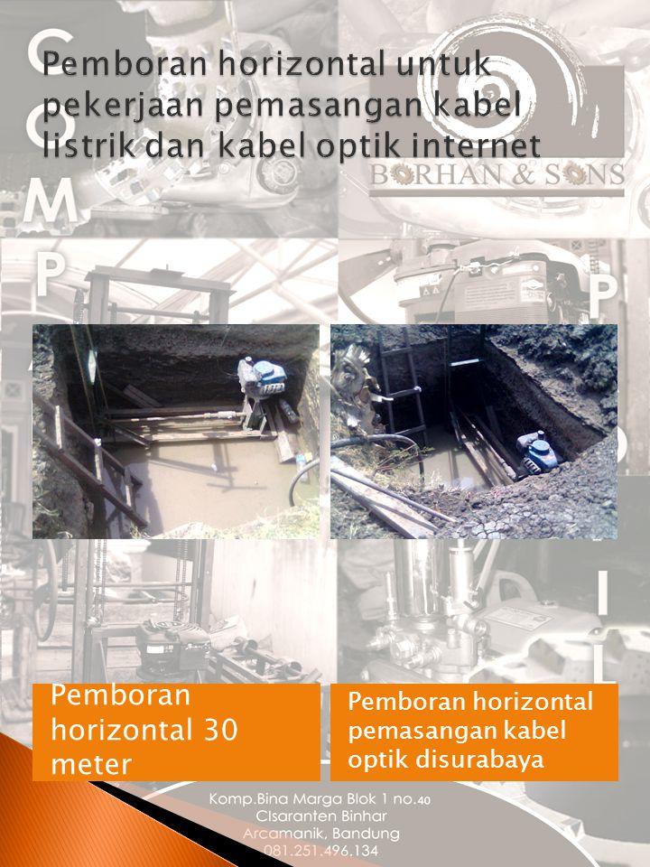 Pemboran horizontal untuk pekerjaan pemasangan kabel listrik dan kabel optik internet