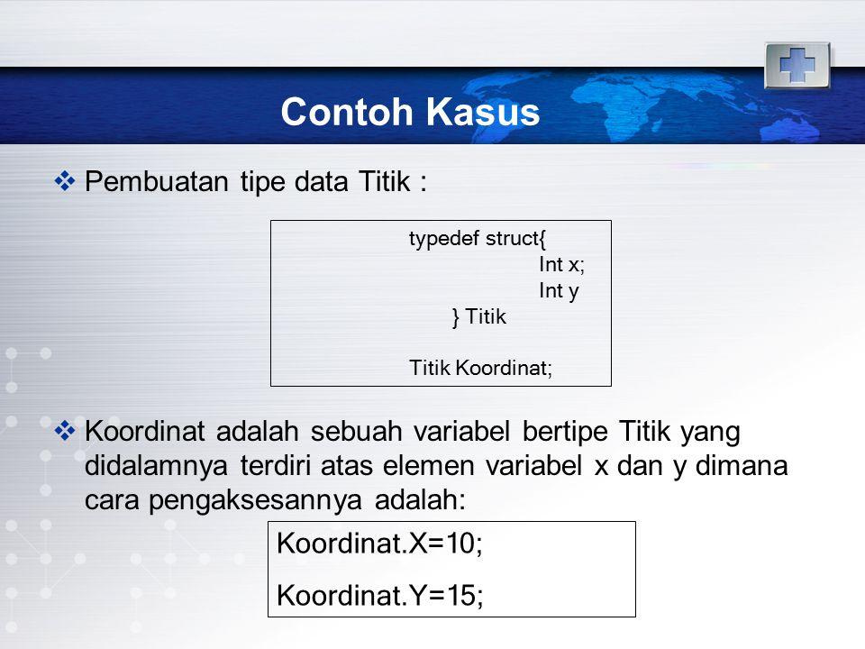 Contoh Kasus Pembuatan tipe data Titik :