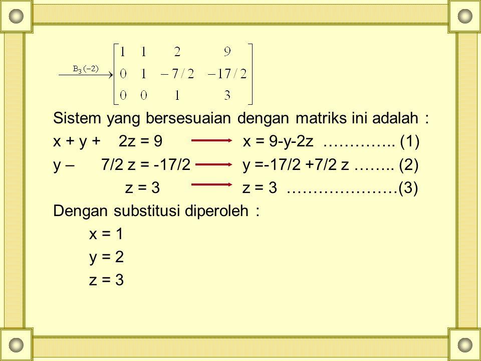 Sistem yang bersesuaian dengan matriks ini adalah :