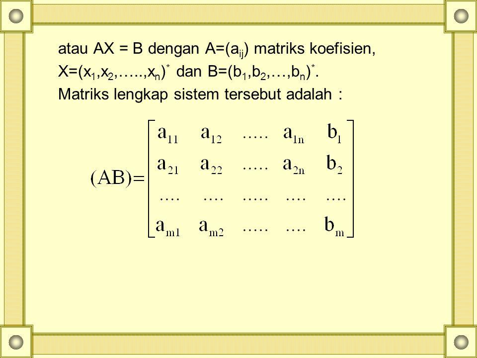 atau AX = B dengan A=(aij) matriks koefisien,