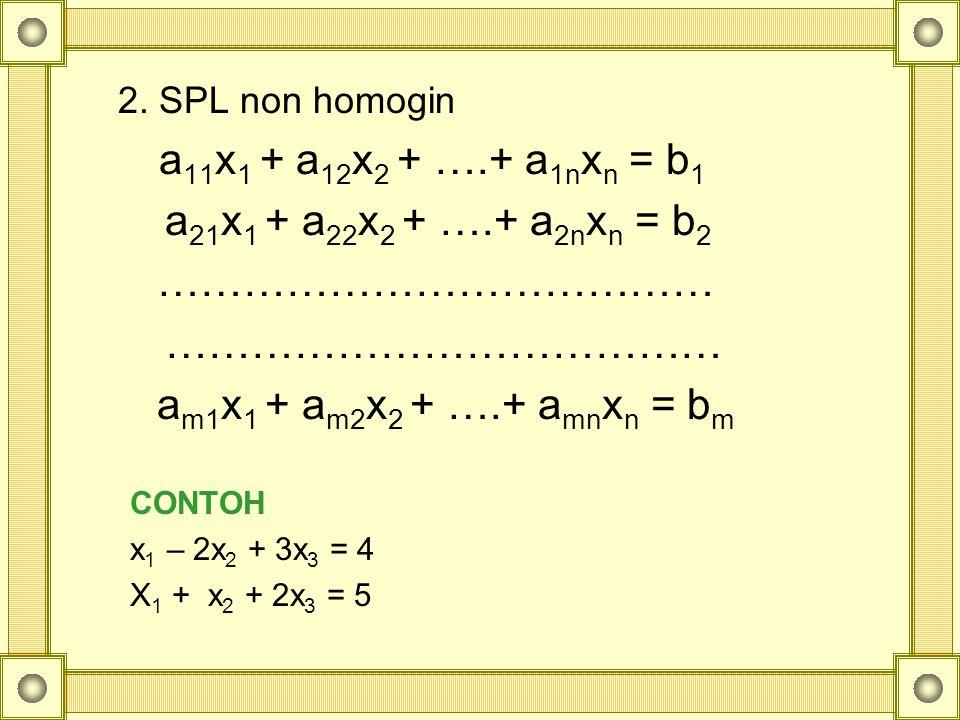 a21x1 + a22x2 + ….+ a2nxn = b2 …………………………………