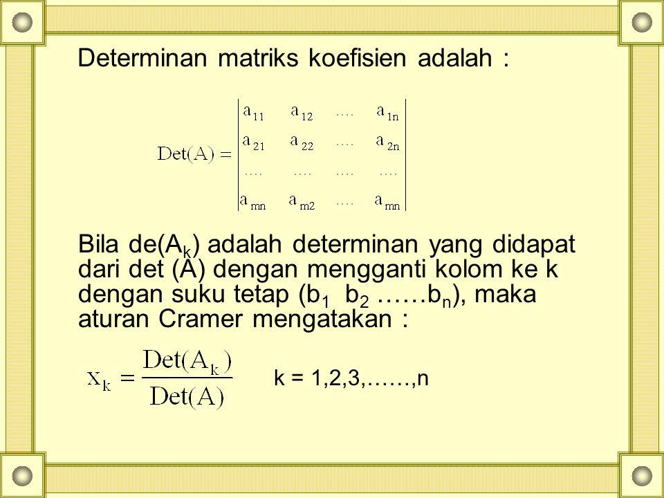 Determinan matriks koefisien adalah :