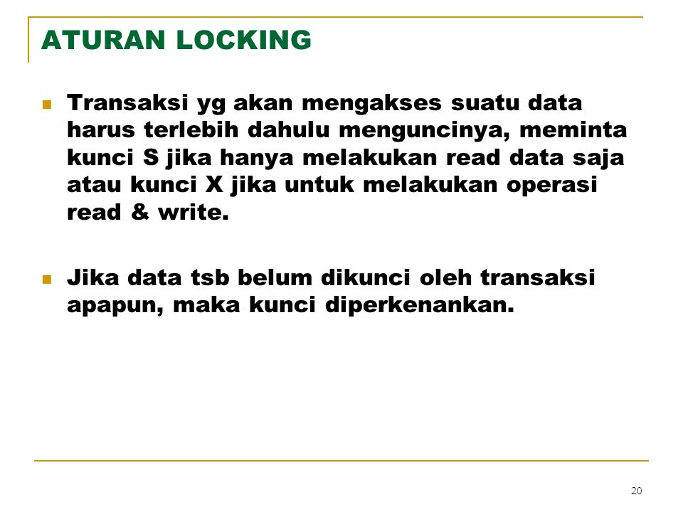 ATURAN LOCKING