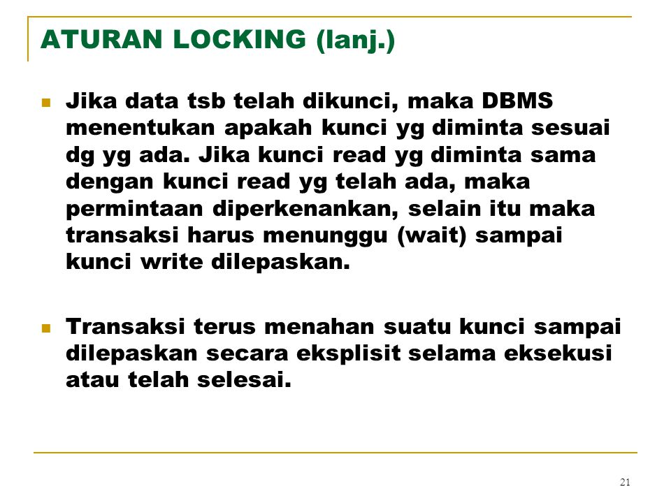 ATURAN LOCKING (lanj.)