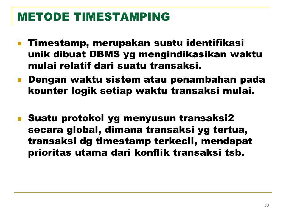 METODE TIMESTAMPING Timestamp, merupakan suatu identifikasi unik dibuat DBMS yg mengindikasikan waktu mulai relatif dari suatu transaksi.