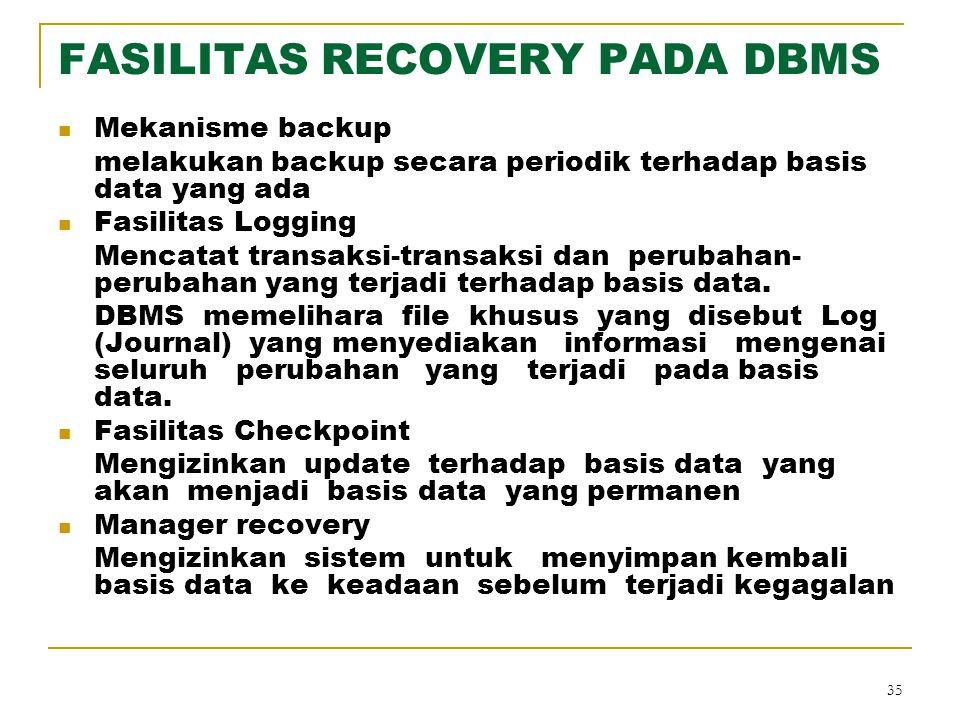 FASILITAS RECOVERY PADA DBMS