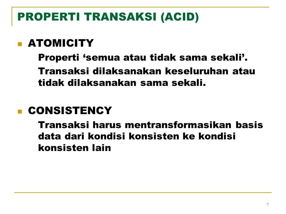 PROPERTI TRANSAKSI (ACID)