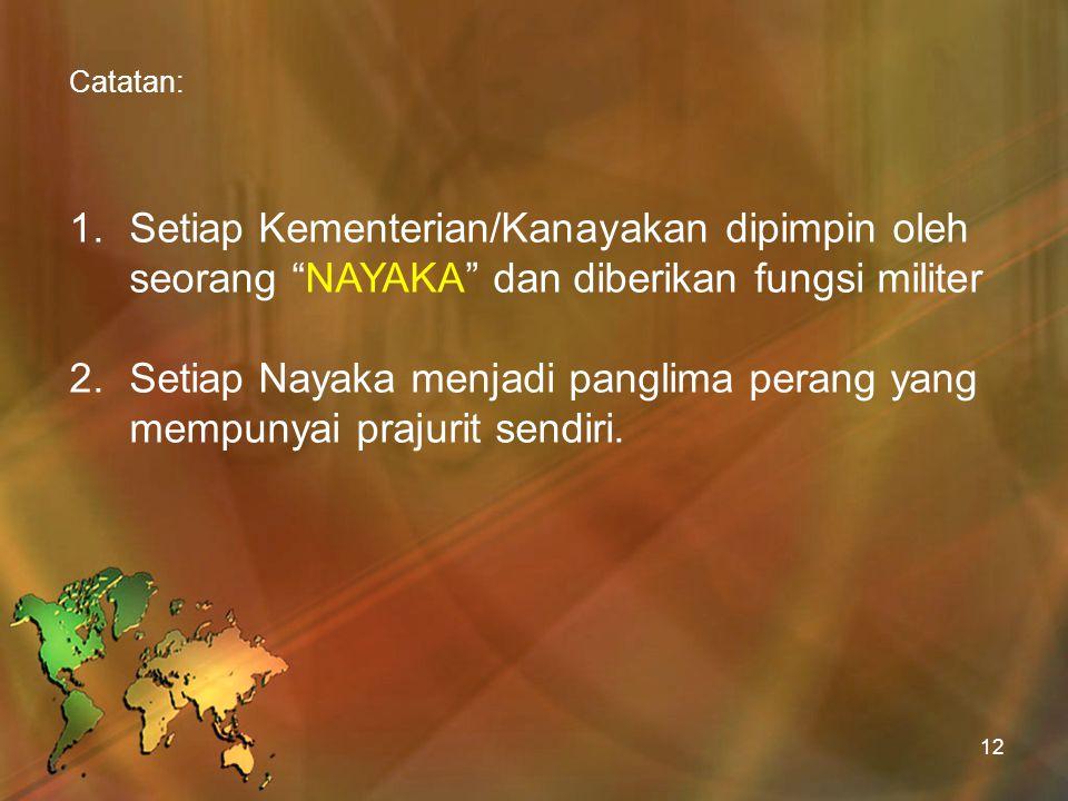 Setiap Nayaka menjadi panglima perang yang mempunyai prajurit sendiri.