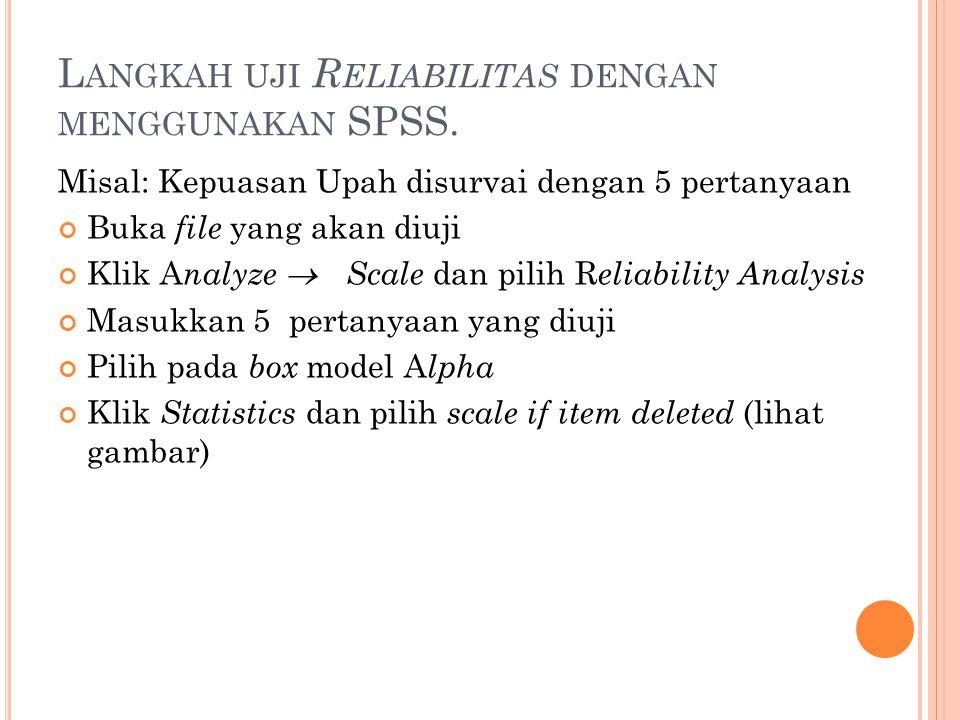 Langkah uji Reliabilitas dengan menggunakan SPSS.