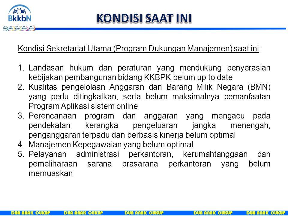 KONDISI SAAT INI Kondisi Sekretariat Utama (Program Dukungan Manajemen) saat ini:
