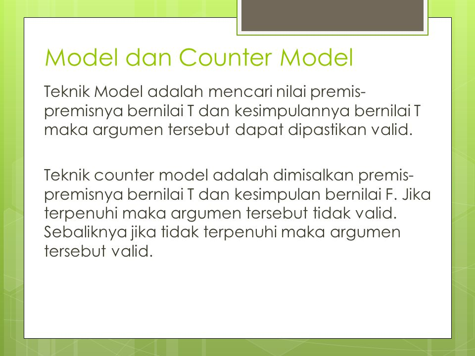 Model dan Counter Model