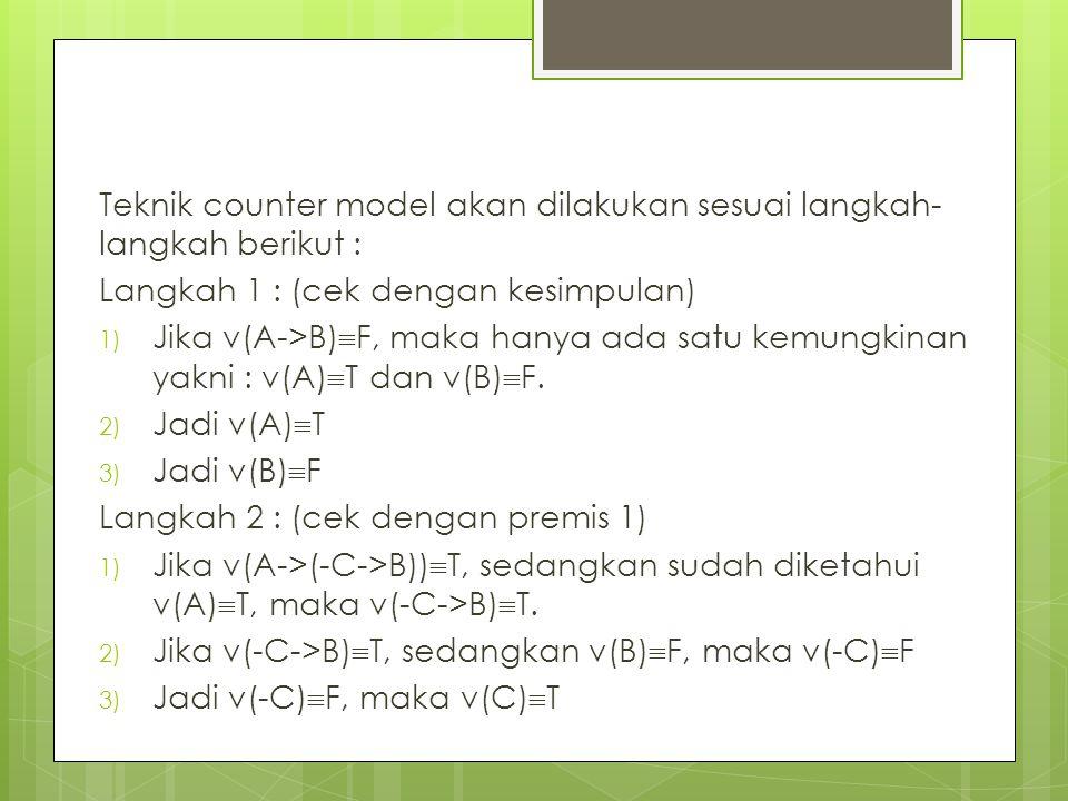 Teknik counter model akan dilakukan sesuai langkah-langkah berikut :