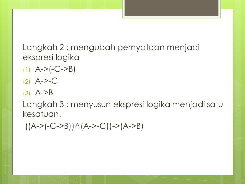 Langkah 2 : mengubah pernyataan menjadi ekspresi logika