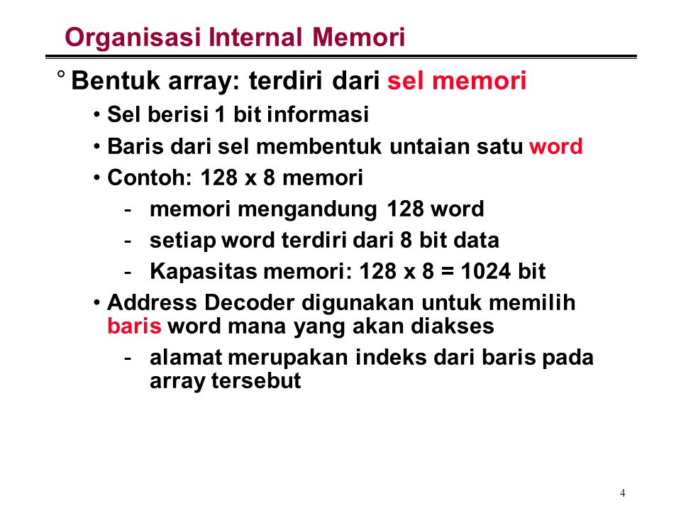 Organisasi Internal Memori