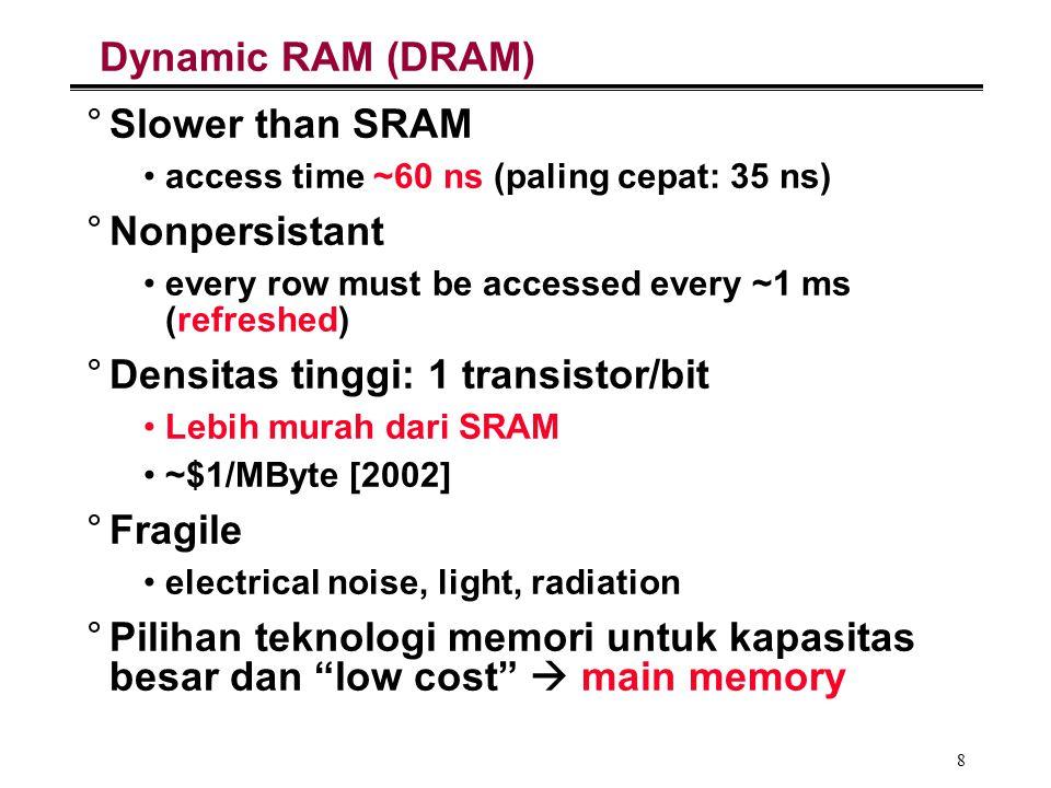 Densitas tinggi: 1 transistor/bit