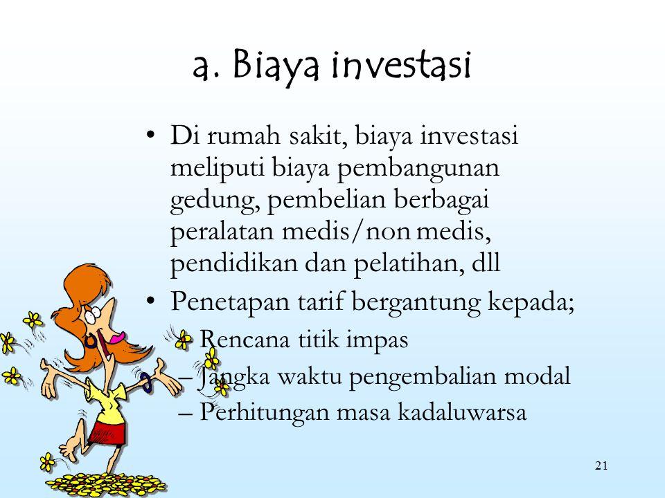 a. Biaya investasi