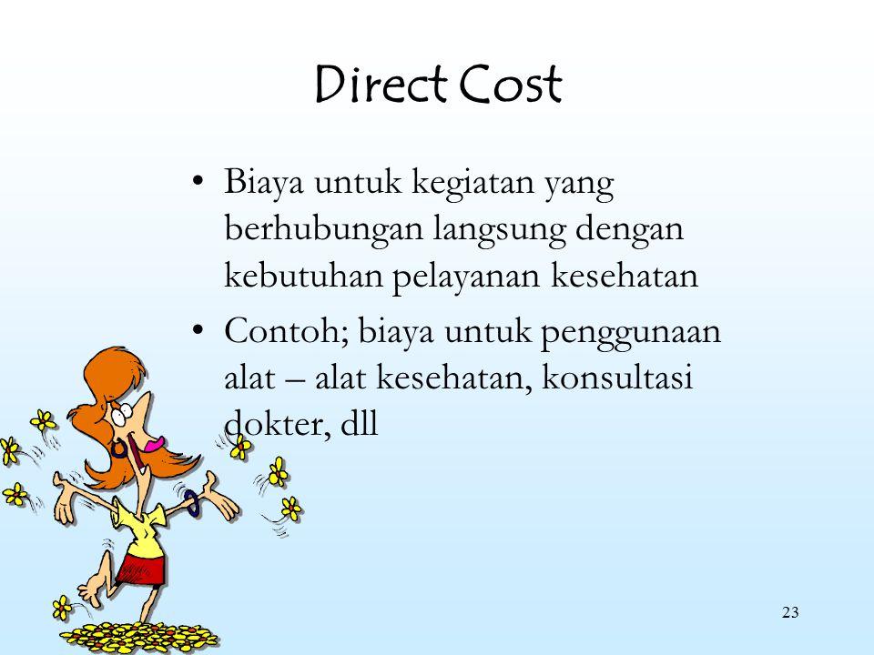 Direct Cost Biaya untuk kegiatan yang berhubungan langsung dengan kebutuhan pelayanan kesehatan.