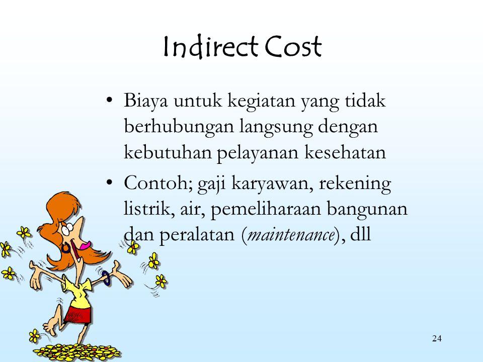 Indirect Cost Biaya untuk kegiatan yang tidak berhubungan langsung dengan kebutuhan pelayanan kesehatan.