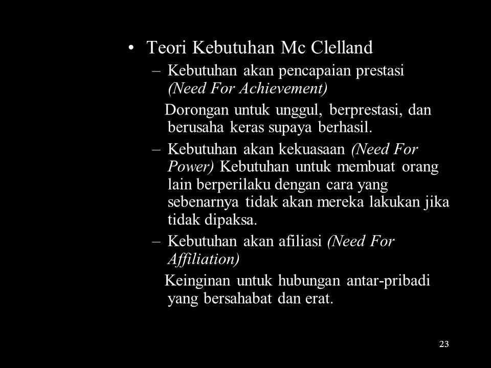 Teori Kebutuhan Mc Clelland