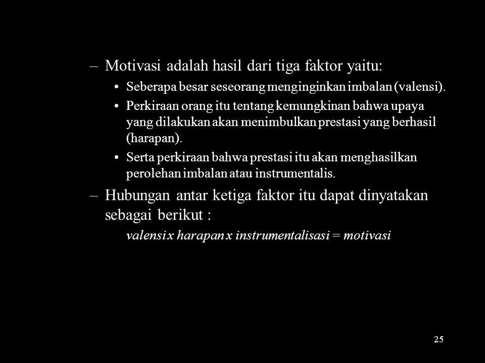 valensi x harapan x instrumentalisasi = motivasi